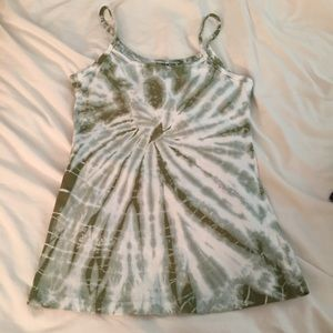 Hard Tail green and white tie-dye camisole